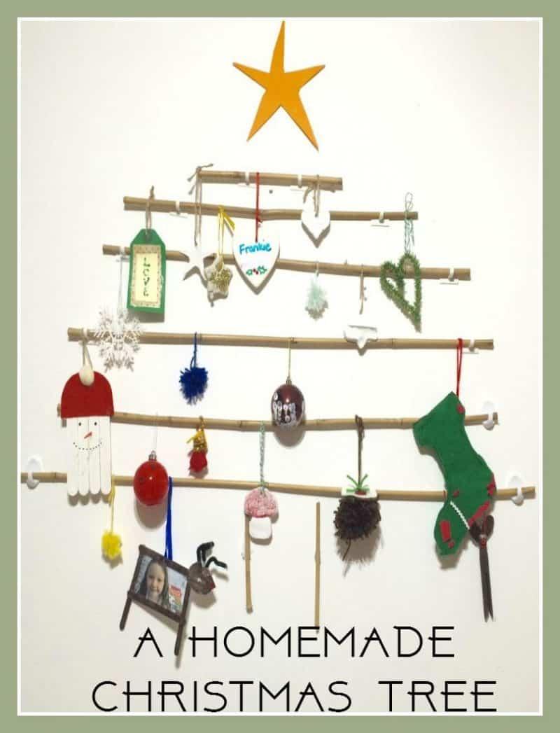 homemade-christmas-tree, stick Christmas tree